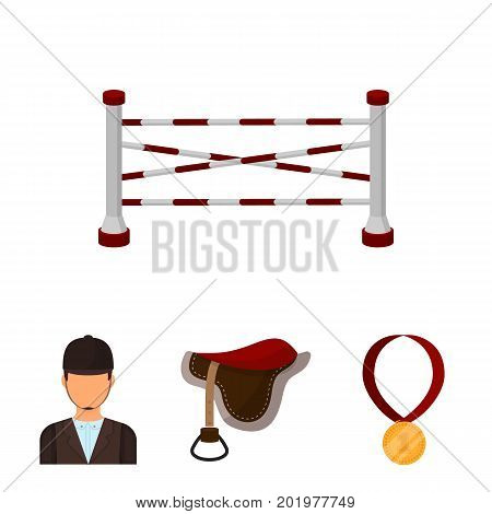 Saddle, medal, champion, winner .Hippodrome and horse set collection icons in cartoon style vector symbol stock illustration .