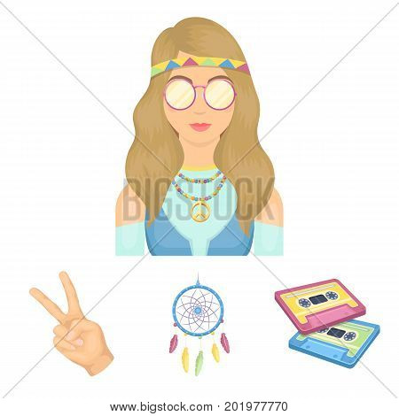 Amulet, hippie girl, freedom sign, old cassette.Hippy set collection icons in cartoon style vector symbol stock illustration.