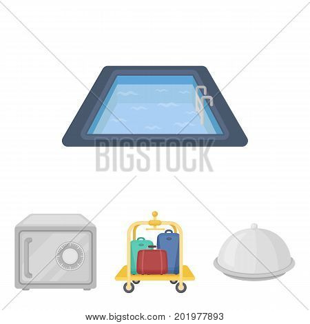 Trolley with luggage, safe, swimming pool, clutch.Hotel set collection icons in cartoon style vector symbol stock illustration web.