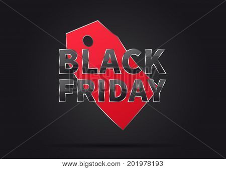 Black Friday with red price tag vector illustration on black illustration. Creative banner layout for m-commerce mobile promotions retail sale materials coupons advertising.
