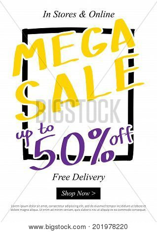 Banner Mega Sale Up To 50 percent vector illustration. Poster Discounts Up To 50 percent creative concept for retail stores advertising. Flyer Discounts Up To 50 percent A4 size ready to print.