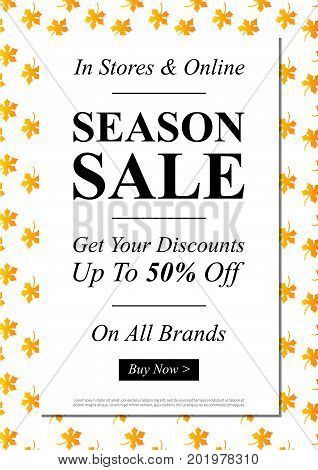 Vector Season Sale banner for online stores websites retail posters social media ads. Creative banner layout for m-commerce promotions newsletters sale materials coupons advertising.