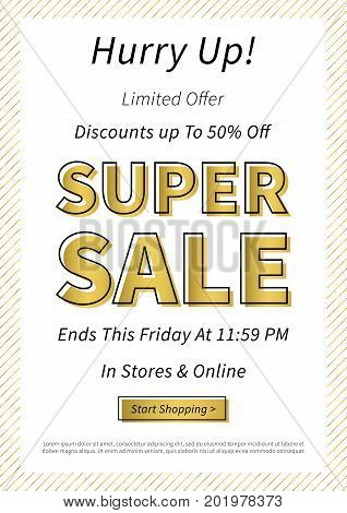 Banner Super Sale horizontal vector illustration. Poster Super Sale creative concept for websites retail stores advertising. Flyer layout Super Sale A4 size ready to print.
