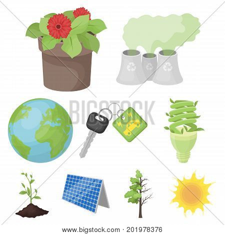 The ecology of the earth, the problems of ecology, ways to combat the ravages.Bio and Ecology icon in set collection on cartoon style vector symbol stock web illustration.