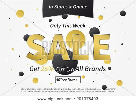 Banner Sale vector illustration. Creative banner layout for m-commerce mobile promotions retail sale materials coupons advertising.