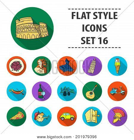 Italy country set icons in flat design. Big collection of Italy country vector symbol stock illustration