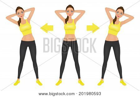 Young pretty woman make side bend exercise with hands behind head. Fit girl in leggings and crop top. Warm-up instruction vector illustration