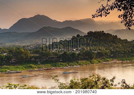 Top view of World heritage site, Luang Prabang, Laos