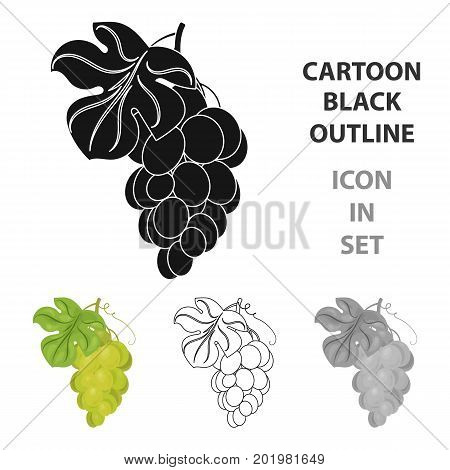 Bunch of yellow grapes icon in cartoon design isolated on white background. Wine production symbol stock vector illustration.