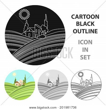 Lodge with vineyards icon in cartoon design isolated on white background. Wine production symbol stock vector illustration.