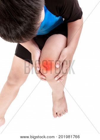 Sports Injure. Asian Child Cyclist Injured At Sole Of The Foot. Isolated On White.