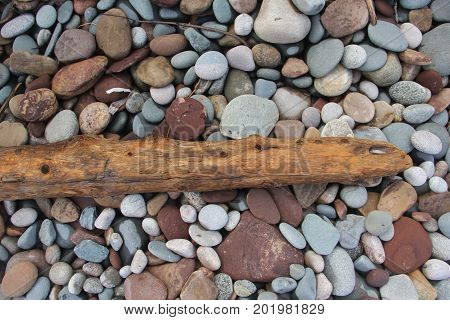 A piece of driftwood on a Lake Superior beach.  Pictured Rocks National Lakeshore, Upper Peninsula of Michigan