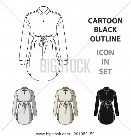 Women's shirt with a belt for housework. A dirty white apron for women.Women clothing single icon in cartoon style vector symbol stock web illustration.