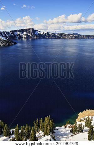 Crater lake national park, covered by snow, in Oregon.