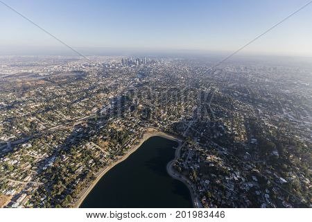 Aerial view of Silver Lake, Echo Park and downtown Los Angeles in Southern California.