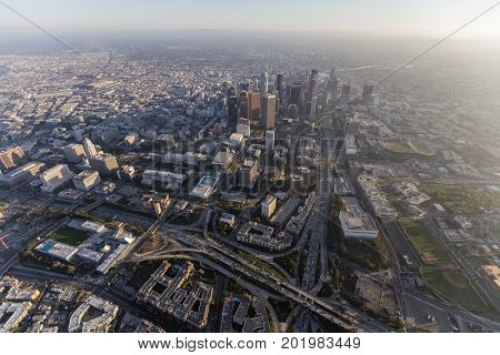 Aerial view of towers and freeways in downtown Los Angeles, California.