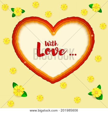 Layered paper art. Paper cut heart shapes. 3D illustration, abstract background. Greeting, postcard for romance and love relations with summer flowers. Modern origami design template.