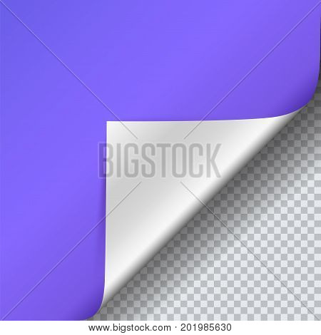 Page curl with shadow on blank sheet of paper. Vector curled corner of colored paper with shadow. Close-up isolated on transparent background. Paper sticker, square 3D illustration