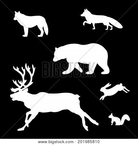 Set of silhouettes of wild animals on a white background.