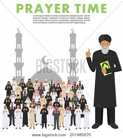 Islamic people standing together with beads in hands and pray. Mufti with quran. Silhouette of a mosque and minarets. Vector illustration.