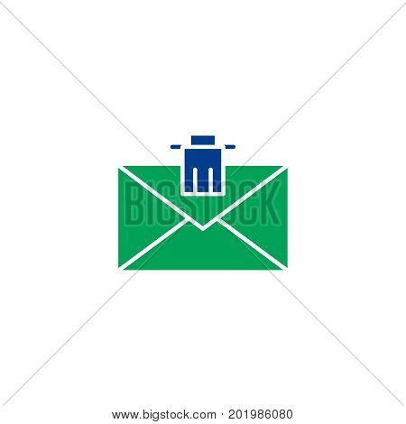 Mail flat icon. Single high quality symbol of line letter vector for web design or mobile app. Color signs of email for design logo. Single pictogram of envelope on white background
