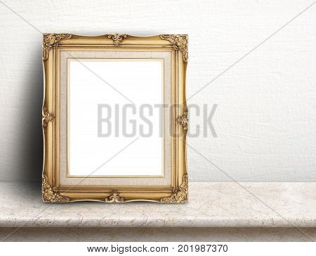 Blank Gold Victorian Picture Frame On Cream Marble Table At White Tile Wall,template Mock Up For Add