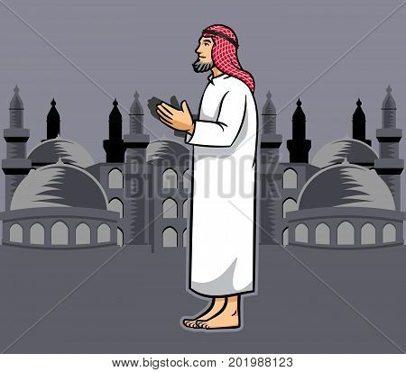 Vector illustration of Arabic men praying .