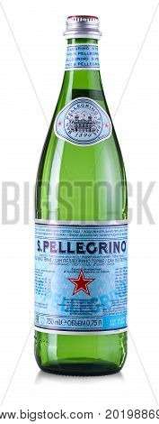 CHISINAU MOLDOVA - AUGUST 17 2017: bottle of San Pellegrino water isolated on white background. Owned by Nestlé since 1997 San Pellegrino (also S. Pellegrino) is an Italian brand of mineral water and assorted real-fruit sodas