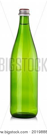 Green bottle of water mineral isolated on white background