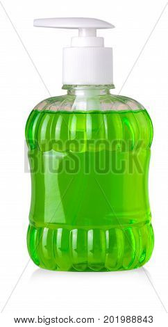 Green bottle with liquid soap and dispenser isolated on white background