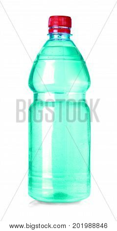 green water bottle isolated on white with clipping path