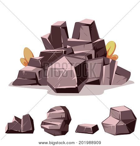 Set of savanna rocks. Cartoon isometric 3d flat style. Set of different boulders. Videogame landscape template. Vector illustration