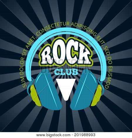 Retro rock music club, music shop vector logo, badge, emblem with headphones on sunburst background illustration