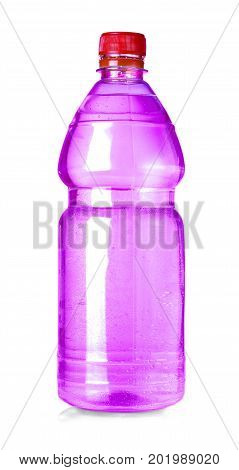 red water bottle isolated on white with clipping path