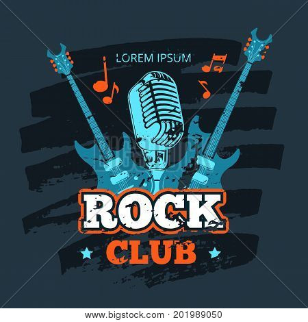Shabby retro rock music club vector logo with guitar. Rock club banner, vector illustration
