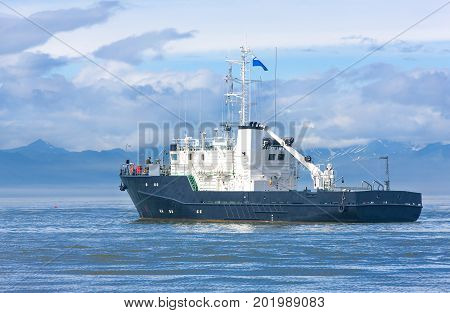 rescue ship in the Avacha Bay of the Pacific ocean