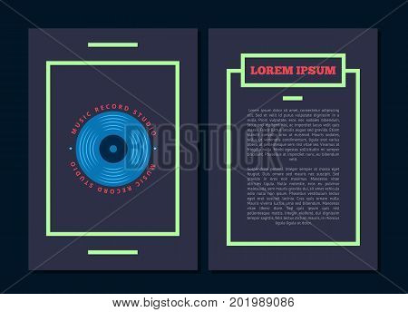 Vector card flyer with retro sound record studio, vinyl music shop, club logo with vinyl record. Illustration of music banner template