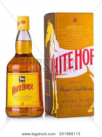 CHISINAU MOLDOVA- August 23 2017: White Horse Scotch Whisky is a blended Scotch whisky from Edinburgh first produced by James Logan Mackie in 1861