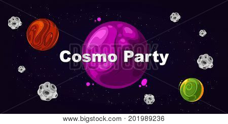 Flyer for party, cosmo party. Poster card template event, vector illustration
