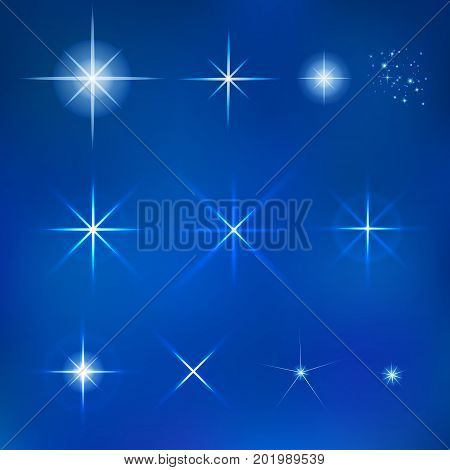 Vector Star set for your background design. Star shape sparkle effect on night sky
