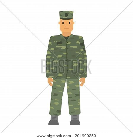 Vector illustration saluted soldier man in free posture isolated on white background. Camouflage uniform. Army soldier symbol