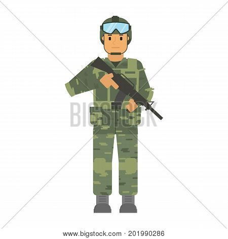 Vector arming soldier with helmet and weapon white background isolated. Army warrior symbol. Soldier defense symbol