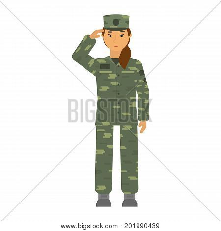 Vector illustration saluted soldier woman in camouflage an attention isolated on white background. Symbol of woman equality and fighting for woman rights. Mandatory military service