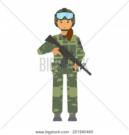 Vector arming soldier wonam with helmet and weapon white background isolated. Army warrior symbol. Soldier defense symbol. Symbol of woman equality and fighting for woman rights. Mandatory military service