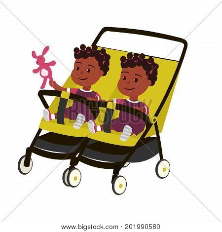 Vector color illustration of little african twins baby girl with toy on perambulator isolated on white background. Maternity symbol