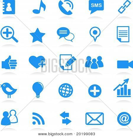 social media icons blue set, vector illustration poster