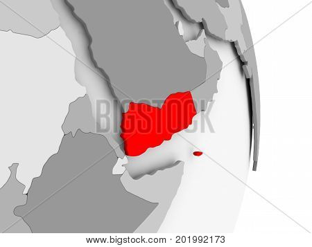 Yemen On Grey Political Globe