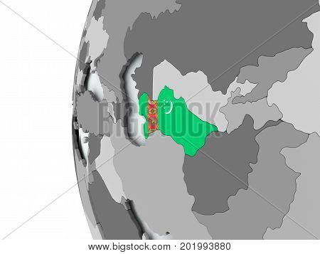 Turkmenistan On Globe With Flag