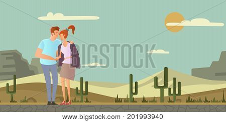 Young couple in love. Man and woman on a romantic date in desert landscape. A man hugs a woman. Vector illustration.