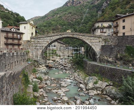 Roman Bridge In Pont Saint Martin